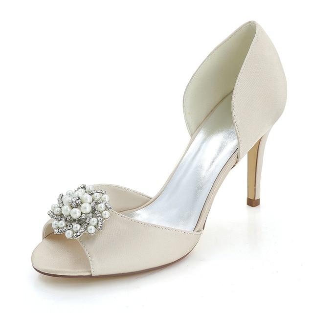 Creativesugar satin D orsay pearl rhinestone charm open toe woman shoes  bridal wedding party elegant dress separate pumps heels ec36c3e5ede2