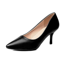 Office Womens single leather shoes black high heels and womens professional for work Interview 33-40 code