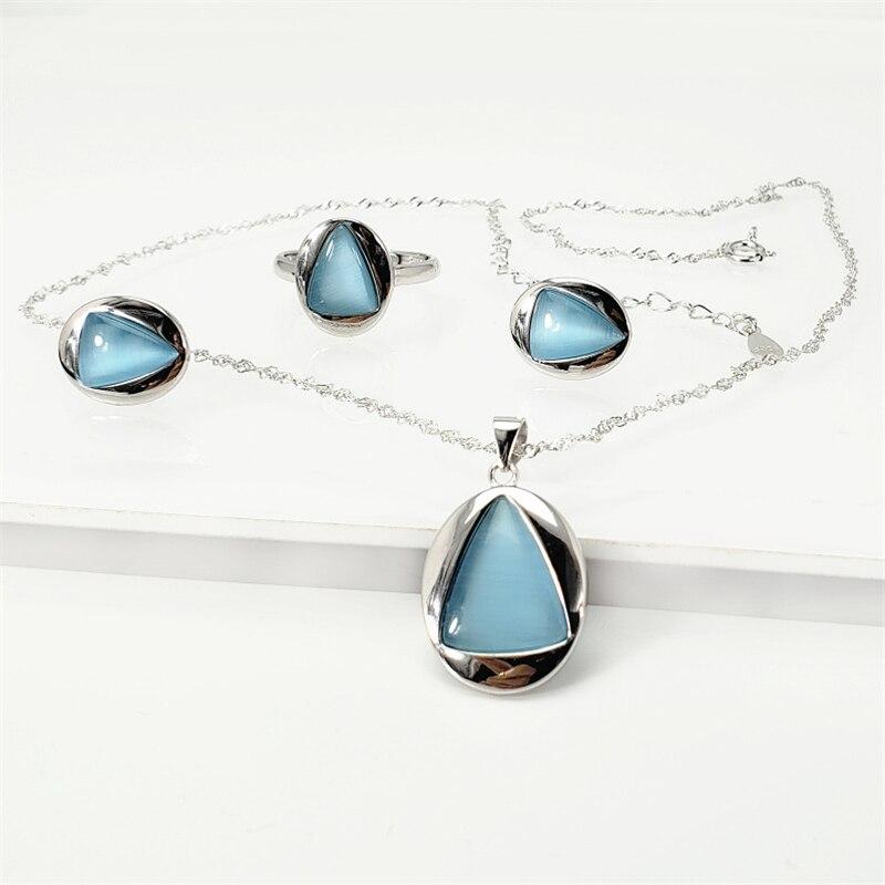 Takı ve Aksesuarları'ten Takı Setleri'de 100% Gerçek 925 Ayar Gümüş Mavi/Siyah Oniks Doğal Taş kadın mücevheratı Seti Kadınlar Zarif Kolye Kolye Yüzük Saplama Küpe'da  Grup 1