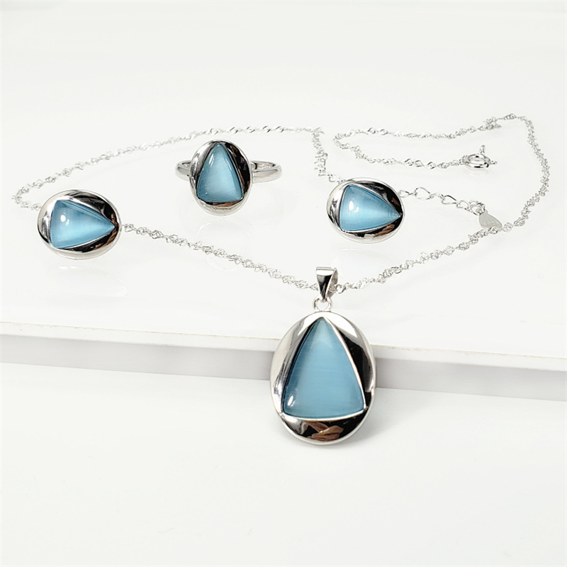 Real 925 Sterling Silver Blue/Black Onyx Natural Stone Jewelry Set Women Pendant Necklace Ring Stud Earrings