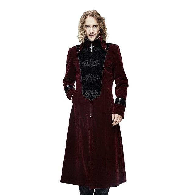 gótico cuello Steampunk invierno Abrigos hombres chaqueta alto largo T141xAn8