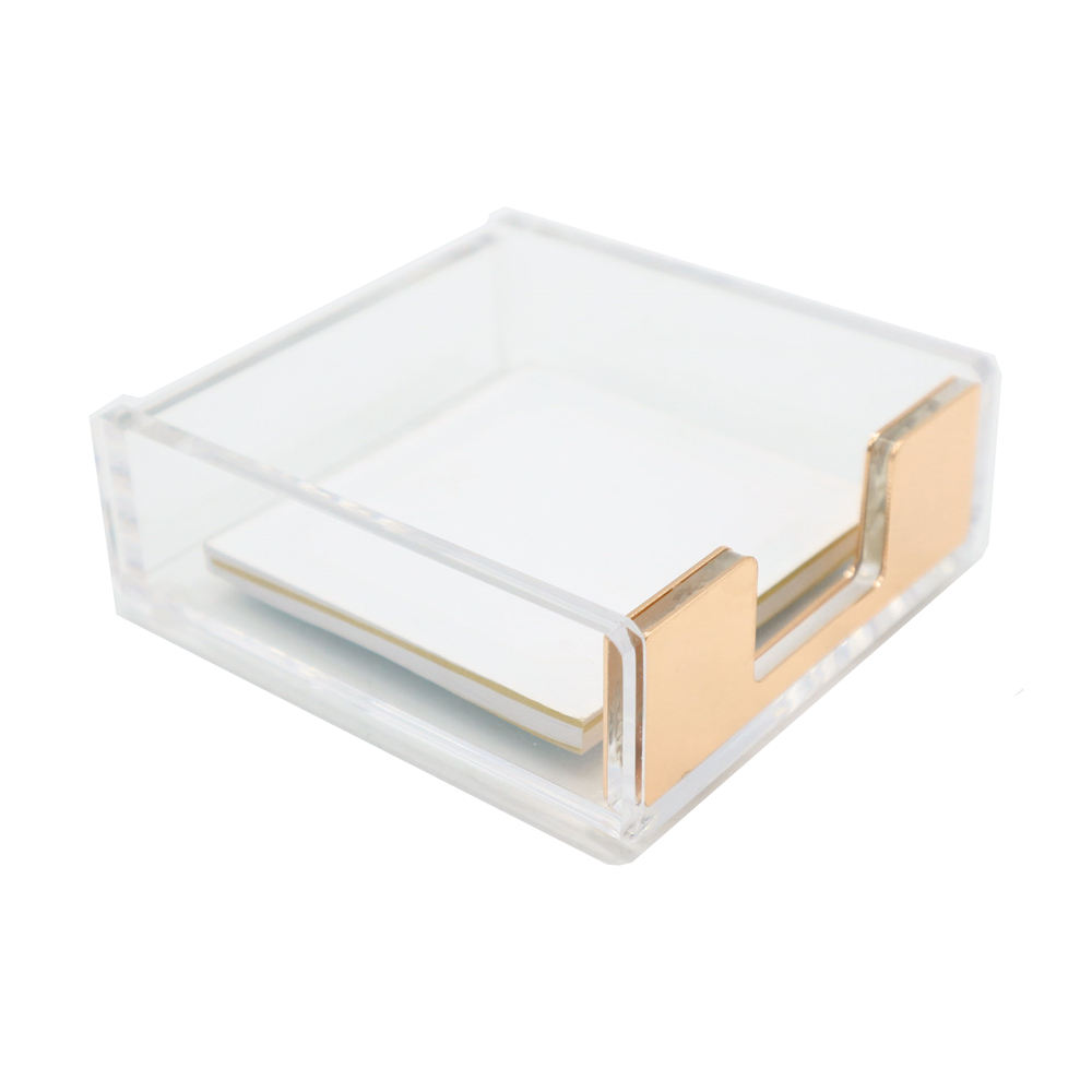 Clear Acrylic Gold Self Stick Memo Pad Holder 5mm Super Thick Notes Card Cube Dispenser Case Gold For Office Home Desk Organizer