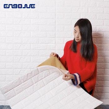 цена на Foam 3D Wall Sticker Modern Brick Pattern Waterproof Self Adhesive Wallpaper For Kids Bedroom Living Room TV Background Stickers