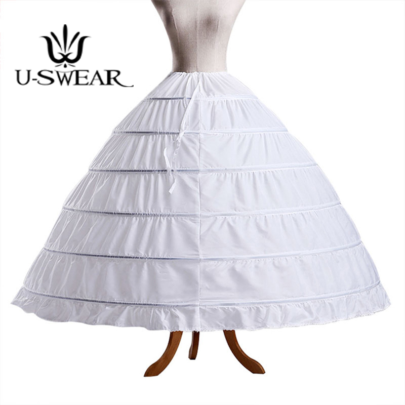U-swear 2018 Hot Sale 3 Color Plain Dyed Women Wedding Petticoats 6 Layers Of Steel Rings Bridal Underskirts For Wedding Dress High Resilience
