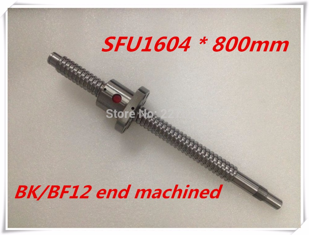 SFU1604 800mm Ball Screw Set : 1 pc ball screw RM1604 800mm+1pc SFU1604 ball nut cnc part standard end machined for BK/BF12 sfu1604 800mm ball screw rm1604 l800mm rolled ball screw 1pc sfu1604 ball nut 1pc cnc parts carving machine accessories