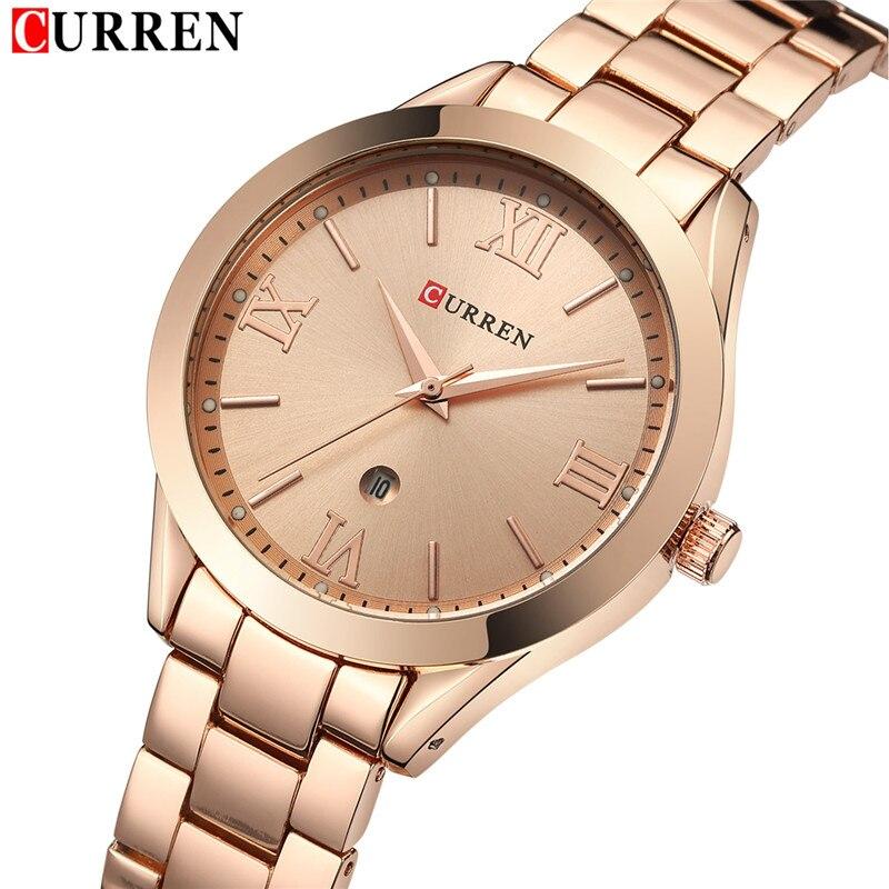 Luxus Mode Frauen Schmuck Quarz Uhren Curren Stahl Damen Elegante Kleid Armbanduhr Frauen Mode Barcelet Geschenk Uhr