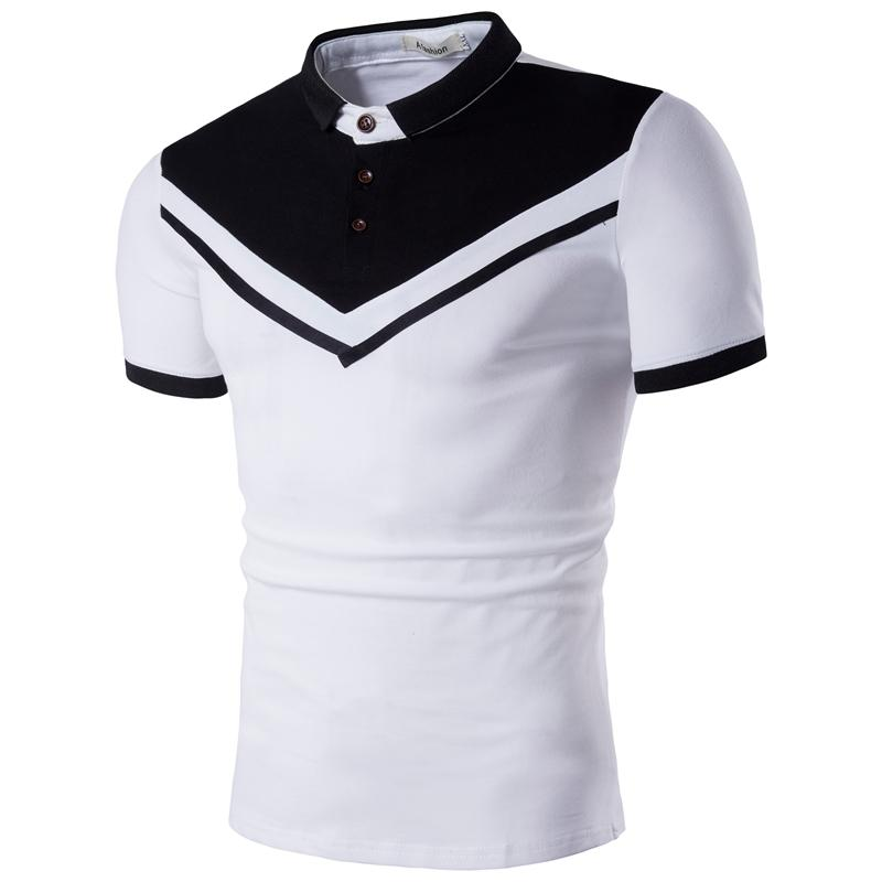 Men   Polo   Shirt Men's Clothing Tops Tees Inverted triangle Lapel Short Sleeves   POLO   Shirt Male