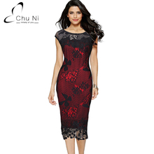 Chu Ni 5XL Plus Size Elegant Dress Embroidery See Through Lace Party Evening Cap Sleeve O Neck Sheath Vestido Bodycon Dress N127