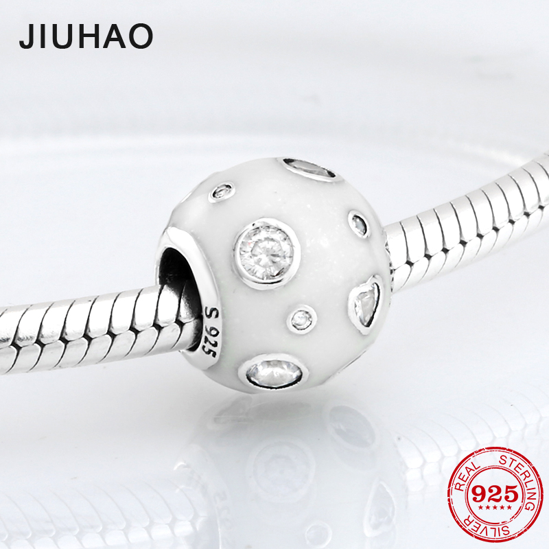 2018 fashion 925 Sterling Silver fascinating white Enamel and CZ beads Fit Original Pandora Charm Bracelet Jewelry making