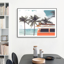 Nordic Seascape Coconut Tree Picture Posters And Prints Green Plant Travel Car Wall Art Canvas Painting Pictures Unframed