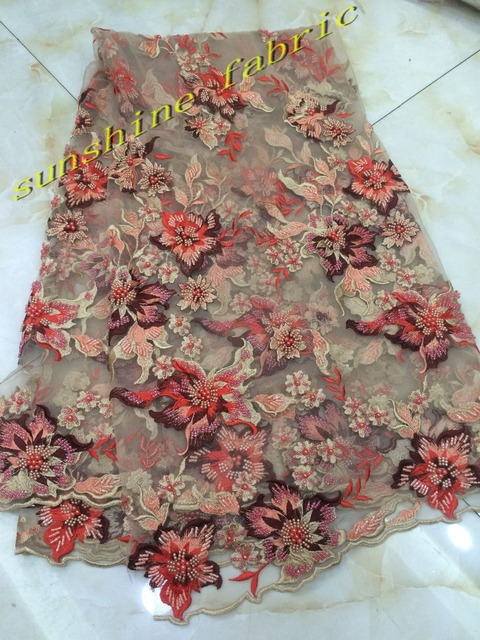 e356b3a897d 3D Flowers embroidered tulle lace fabric with beads pearls high quality  appliqued African net lace fabrics