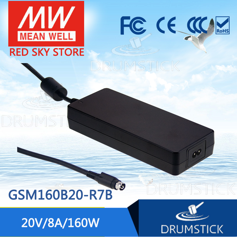 100% Original MEAN WELL GSM160B20-R7B 20V 8A meanwell GSM160B 20V 160W AC-DC High Reliability Medical Adaptor 1mean well original gsm160a24 r7b 24v 6 67a meanwell gsm160a 24v 160w ac dc high reliability medical adaptor