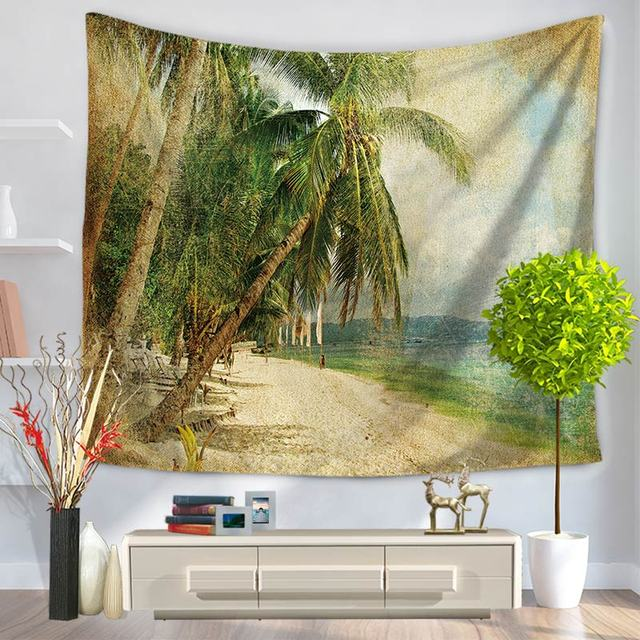 Indian Mandala Tapestry Wall Hanging Palm Trees Beach Throw Yoga Mat Boho Decor