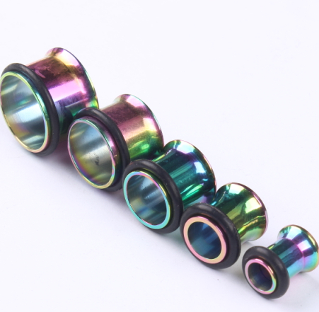 2pc black sliver rainbow gold stainless steel fake ear