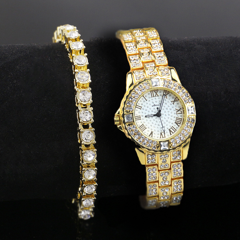 Us 7 99 Men Hip Hop Iced Out Gold Tone Rhinestone Watch And Bracelet Set Fashion Luxury Jewerly Sets In Jewelry From