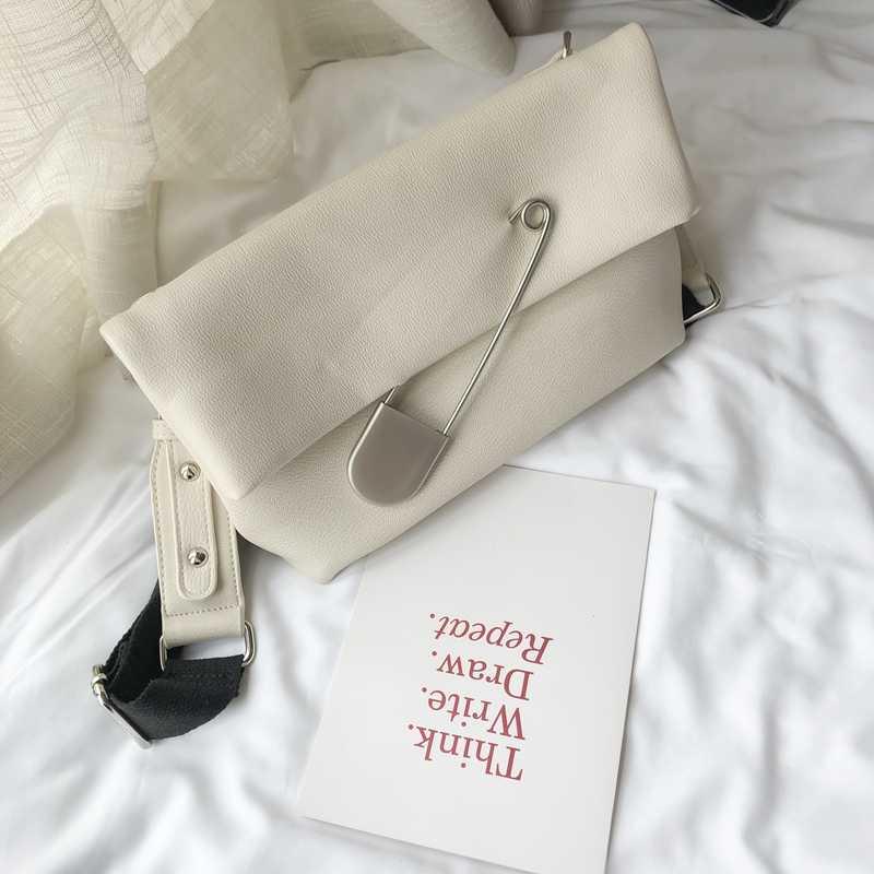 Trend Tasarım Büyük Pin Pu Deri Katlanır Kadınlar Zarf Çanta Crossbody askılı çanta Çanta Kadın Casual Tote omuzdan askili çanta