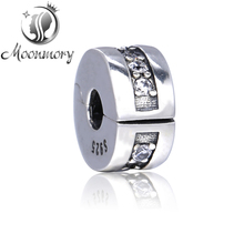 Diy Fit Original Pandora Bracelet Authentic 925 Sterling Silver Round Shape Clip Bead Charm With Clear CZ For Diy Jewelry Making