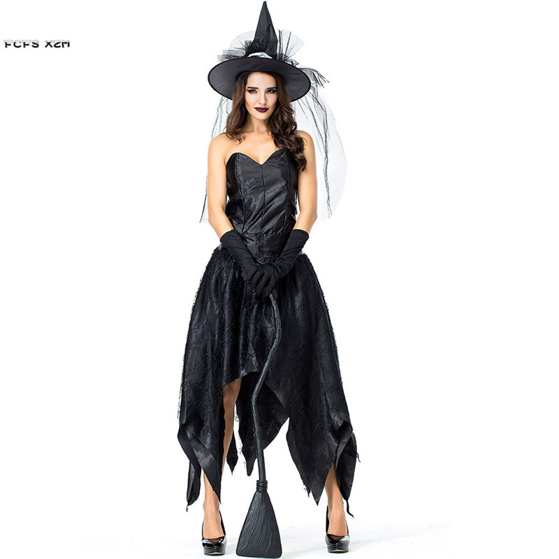 Woman Gothic Sorceress Cosplays Female Halloween Black Witch Costume Carnival Purim parade Masquerade Nightclub Rave Party dress