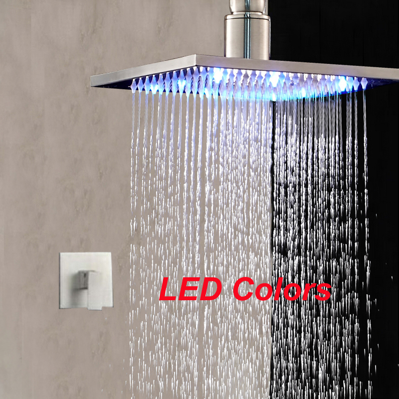Ceiling Mounted  LED Rain Shower Head Single Handle Valve Mixer Tap Brass Set new chrome 6 rain shower faucet set valve mixer tap ceiling mounted shower set