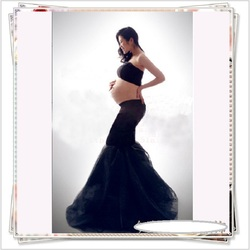 Maternity Photography Props Black Lace Long Mermaid Dresses Pregnancy Pregnant Women Photo Shoot Clothes Baby Shower Dress