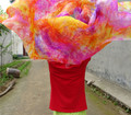 Бесплатная Доставка Pure Silk Tie Dye Цветочные Танец Живота Шелк вуаль 250*114 см Рука Брошены Шарф Шаль Красочные Розовый Синий Бесплатная Доставка доставка