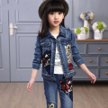 Children 's clothing Spring Autumn large children' s fashion two - piece fashion denim children casual Sequin text cowboy suit