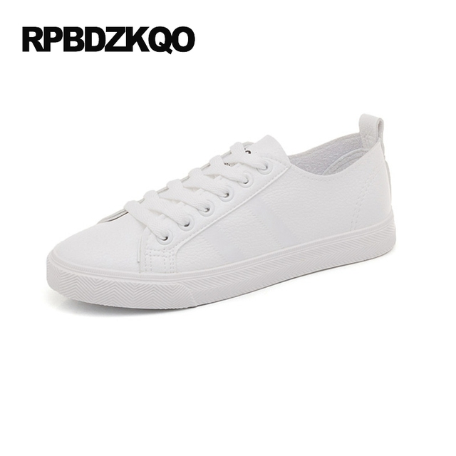 Women's Flat Skateboard Mules Round Toe Slippers Lace Up Sneakers White Shoes