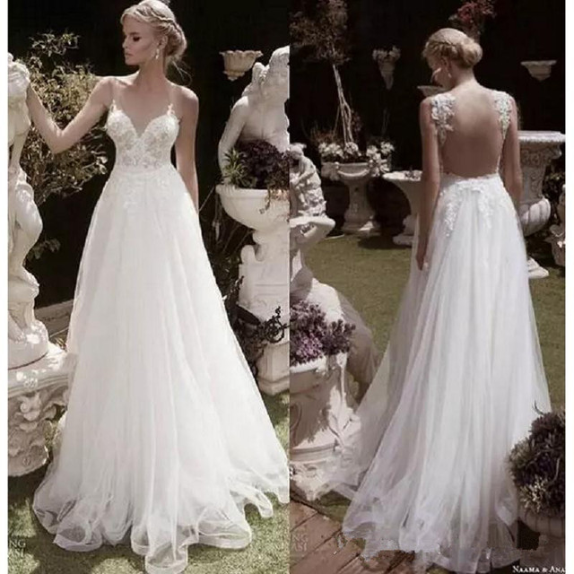 2017 elegant garden wedding dresses a line sheer v neck appliques 2017 elegant garden wedding dresses a line sheer v neck appliques flow backless chiffon junglespirit Choice Image