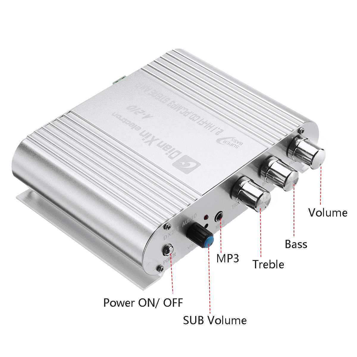 New DX-210 Car 3 Channel Amplifier Stereo Mega Bass 12V-15V Hi-Fi Amplifiers Connect For PC DVD Player MP3 MP4 Players Subwoofer