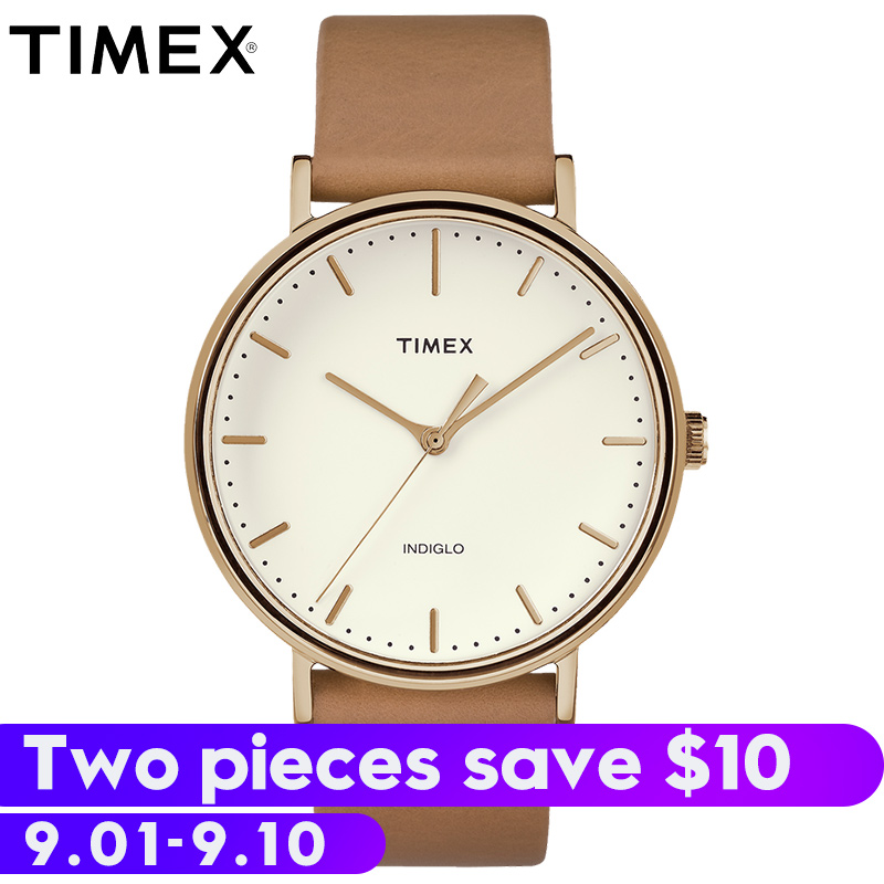 все цены на 2018 Top Fashion Promotion For Timex Mens Watches Fairfield Tw2r262 Simple Leather Quartz Waterproof Luminous Unisex Watch онлайн