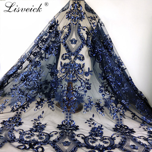 New 1yard diy Handmade tulle Lace Fabric sequins Embroidered African French Lace for wedding/evening / party dress cheongsam