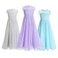 Vestidos largos de gasa para niñas, trajes de fiesta para boda, vestidos de perlas para maxi 6, 8, 10, 12, 14 y 16 años