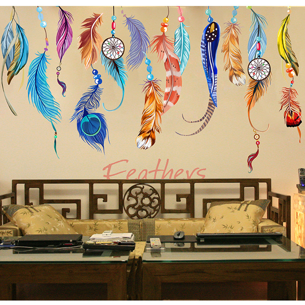 ①Home Decor Dreamcatcher Feathers Windbell Wall Sticker Mural Art ...