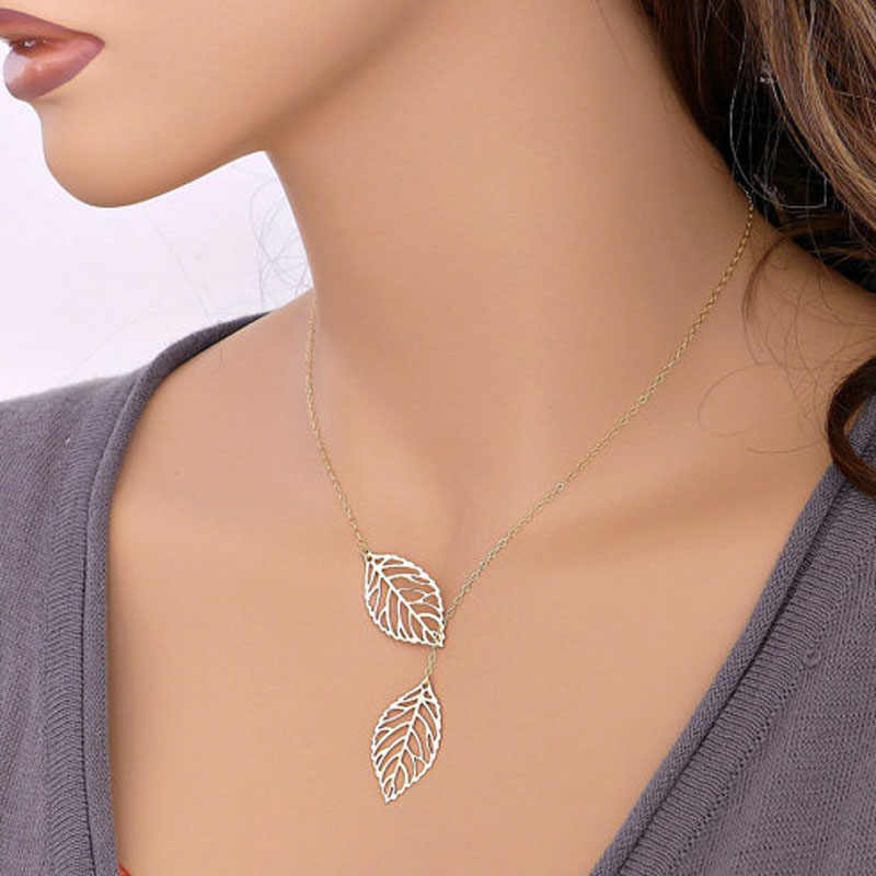 Stylish Wild Necklace Luxury Long Pendant Necklace Popular Double Leaf Pendant Alloy Choker Necklace High Quality SL GD 1p L0326