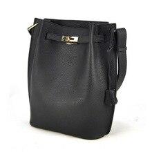 Fashion Genuine Real Cowhide Leather Bucket Women Handbag Shoulder Designer Purse Cross Body Satchel Hobo Messenger Lady Bag