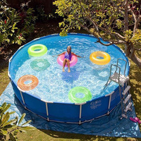 Super Large Swimming Pool with Frame Supporter Environmentally Thickened PVC Round Pool Family Pool for Adults Kids