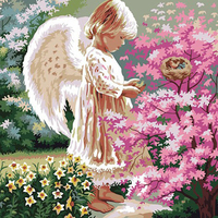 LCODCDML Lovely Little Angel Oil Painting Painted By Numbers 40x50 Canvas Unframed Hand Painted Figure Picture