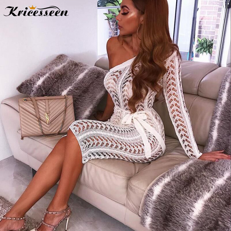 Detail Feedback Questions about Kricesseen Elegant White Crotchet Party  Dress Sexy See Through One Shoulder High Slit Beach Dress Night Club  Vestdos Outfits ... cf5f3a0b5d4c