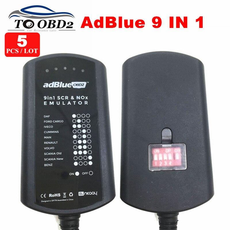 Цена за 5 шт./лот Высокое качество Adblue 9 в 1 работает 9 грузовик добавить для cummins/ford Электронный модуль тяжелых AD синий эмулятор