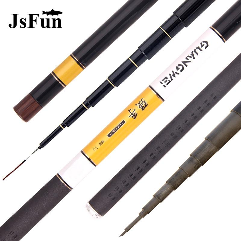 JSFUN 3.6-7.2m Super Hard Stream Fishing Rod Carbon Fiber Telescopic Fishing Pole Ultra Light Carp Fishing Pole FG1004
