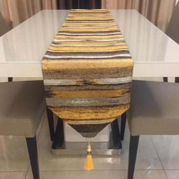 Fyjafon bieżnik poliester nowoczesne biegacze kolorowe paski stół dekoracyjny bieżnik na łóżko 32*210 niebieski złoty tanie i dobre opinie CN (pochodzenie) Printed Woven Home Hotel 100 Polyester Striped Blue Yellow 32*210cm