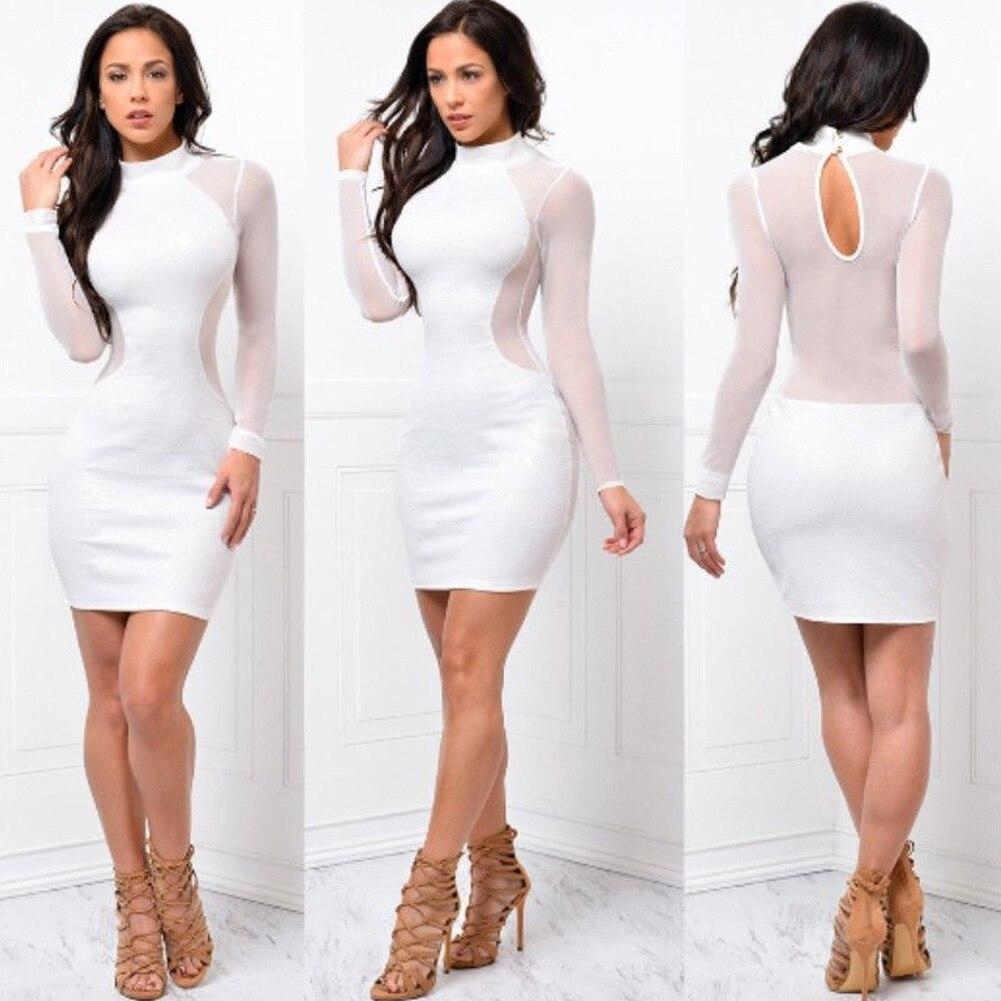 HTB1Xm6TJ1uSBuNjy1Xcq6AYjFXaX 2018 New Women Sexy Skinny Bodycon Long Sleeve Sheer See Through Party Slim Club Wear Casual Short Mini Dress