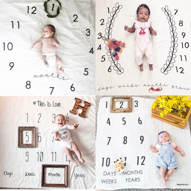 Infant Baby Blanket Photo Photography Prop Blankets Backdrop Cloth Calendar Bebe Boy Girl Photo Accessories 110x100cm