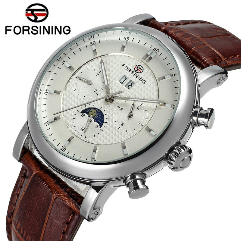 New Fosining Men's Erkek Kol Saati Auto Mechanical Moonpahse Genuine Leather Strap Watch Wristwatch  Free Ship fosining luxury montre homme watch men s auto mechanical moonpahse genuine leather strap watches wristwatch free ship
