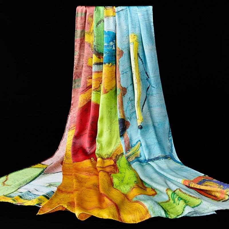 100% véritable Foulard en soie naturelle pour les femmes châles Wrap 2019 imprimer Hangzhou Foulard en soie Foulard Foulard Femme 195*88cm