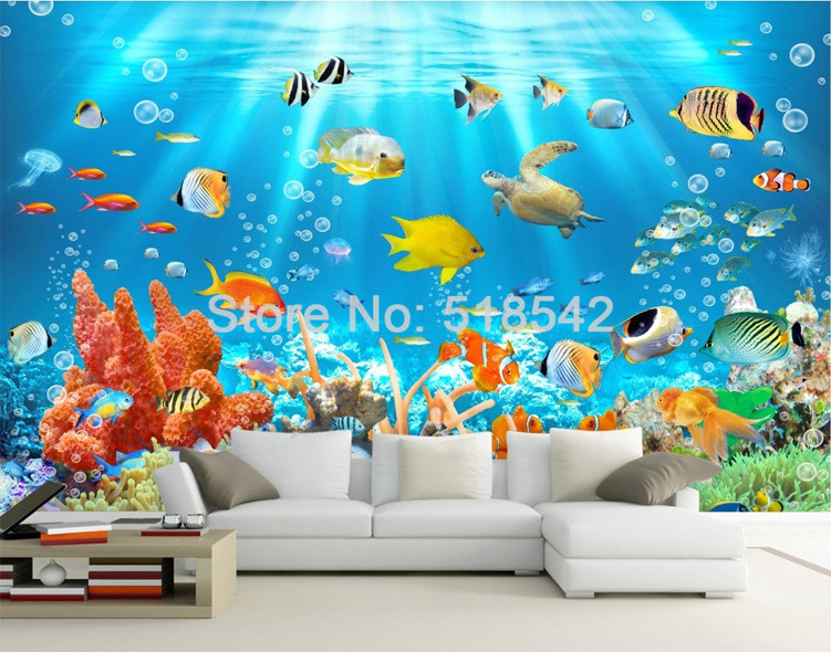 HTB1Xm6aPVXXXXccXXXXq6xXFXXXA - Custom Photo Mural Non-woven Embossed Wallpaper Underwater World Fish Coral Children Room Living Room Wall Decoration Wallpaper