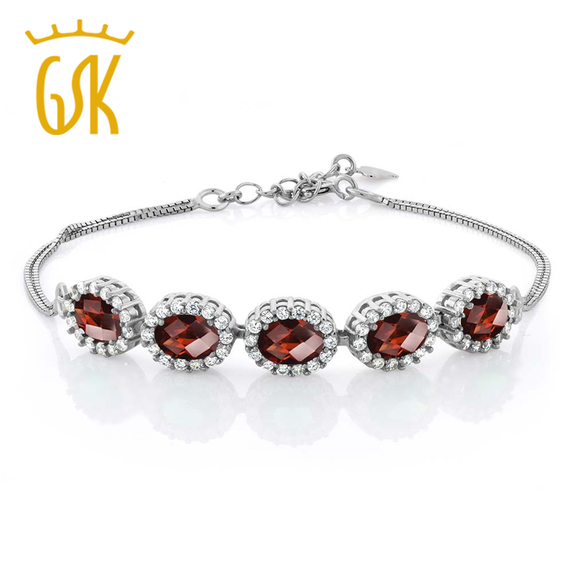 """Sterling Silver Red Created Ruby Women/'s Tennis Bracelet 7/"""" with 1/"""" Extender"""