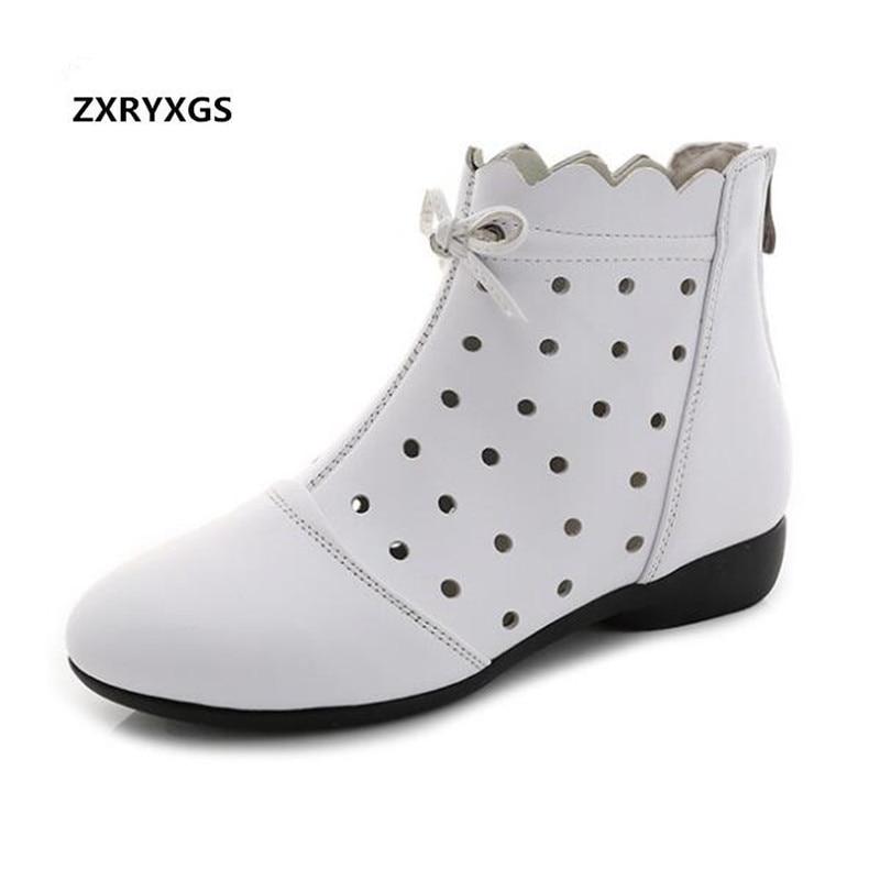 bc03cbef7b0657 Confort D'été Qualité Tendance Cuir brown Peau Creux Femmes Date Doux  Sandales Vache Chaussures En ...