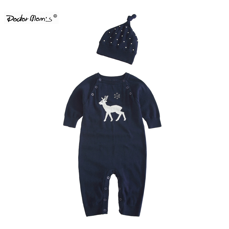 Doctor Mom's 2017 Winter Knitted Cotton Baby Boys Girls Clothes Deer Pattern Newborn Rompers With Hat Jumpsuit Roupas de bebe сарафаны doctor e сарафан