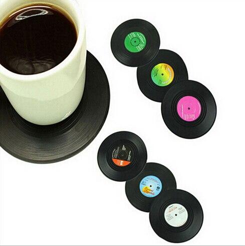 <font><b>New</b></font> <font><b>Fashion</b></font> 6pcs/<font><b>Set</b></font> <font><b>Spinning</b></font> <font><b>Retro</b></font> <font><b>Vinyl</b></font> <font><b>CD</b></font> Record Drinks Coasters / <font><b>Vinyl</b></font> Coaster Cup Mat